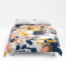 Stella - Abstract painting in modern fresh colors navy, orange, pink, cream, white, and gold Comforters