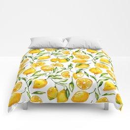 lemon watercolor print Comforters