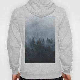 Misty Foggy Minimalist Landscape Photography Ink Blue Forest Hoody