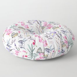 Pink lavender watercolor hand painted orchid floral butterfly Floor Pillow