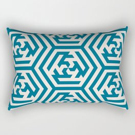 Moroccan Teal Ornate Geometric Pattern Rectangular Pillow