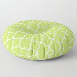 Green Quatrefoil, Latticework, Moroccan Trellis Floor Pillow