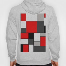 Red Black and Grey squares Hoody