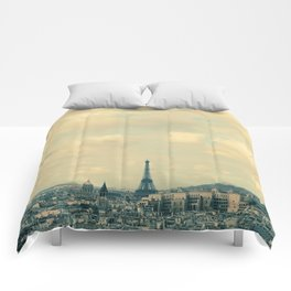 Paris In Blue Comforters