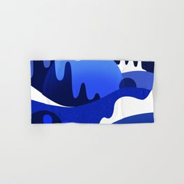 Terrazzo landscape blue night Hand & Bath Towel