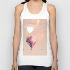 Hot air balloon nursery and heart bokeh on pale pink Unisex Tank Top