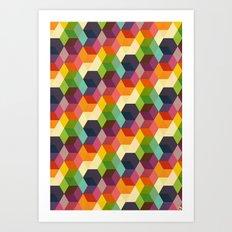 Retro Hexagonzo Art Print