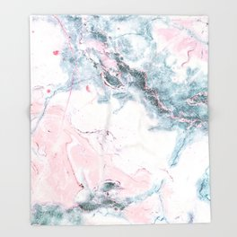 Blue and Pink Marble Throw Blanket