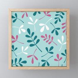 Assorted Leaf Silhouettes Teals Pink White Framed Mini Art Print