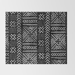 Line Mud Cloth // Black Throw Blanket