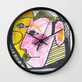 """""""Atrocious Face"""" - a scan of artwork By Dorothy Messenger, copyrighted Wall Clock"""