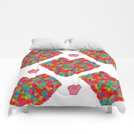 LOVE watercolor painting love illustration heart pattern red multicolor wedding gift minimal simple Comforters