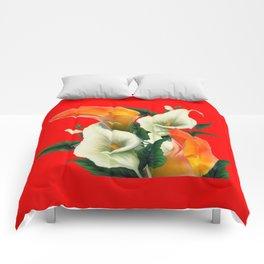 RED & WHITE-ORANGE CALLA LILIES GREY-GOLDEN GARDEN Comforters