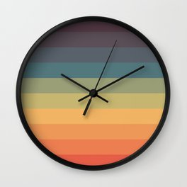 Colorful Retro Striped Rainbow Wall Clock