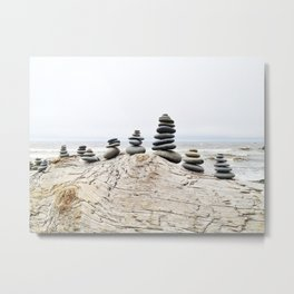 Rocks Stacked at Ruby Beach Metal Print