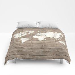 Wooden world map Comforters