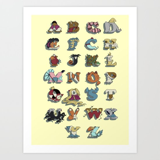 The Disney Alphabet Art Print