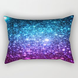 Glitter Galaxy Stars : Turquoise Blue Purple Hot Pink Ombre Rectangular Pillow