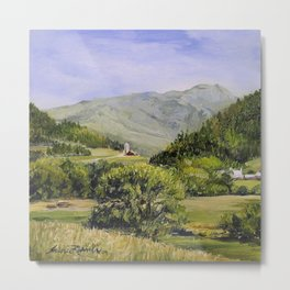 Pastures and Mount Mansfield Oil Landscape Vermont Painting Metal Print