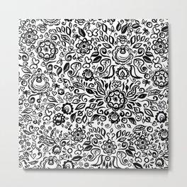 Vintage folk art floral ornament Black flowers on white background Metal Print