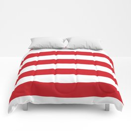Horizontal Stripes - White and Fire Engine Red Comforters