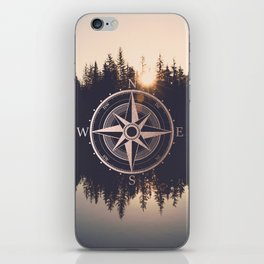 Rose Gold Compass Forest iPhone Skin