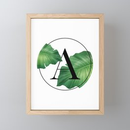 Monogram Leafs - Letter A Framed Mini Art Print