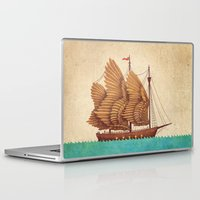 turquoise Laptop & iPad Skins featuring Winged Odyssey by Terry Fan
