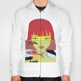 """Redhead Worry"" Paulette Lust's Original, Contemporary, Whimsical, Colorful Art Hoody"