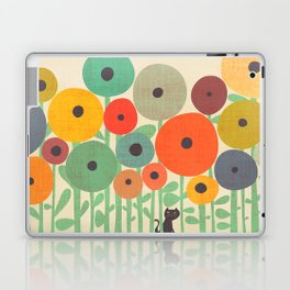Cat in flower garden Laptop & iPad Skin