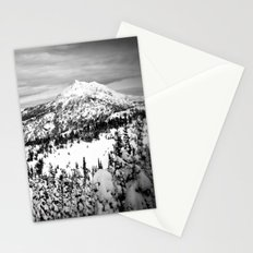 Snowy Mountain Peak Black and White Stationery Cards