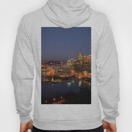 Pittsburgh, Pennsylvania Downtown Night Time River with Bridges Hoody