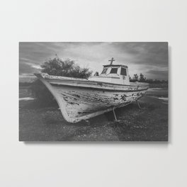 Old boat digital oil black and white painting Metal Print