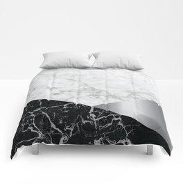 White Marble - Black Granite & Silver #230 Comforters