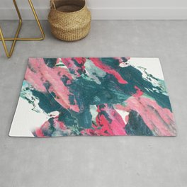Sweet Tooth - a pretty abstract acrylic piece in pinks, blue, and green Rug
