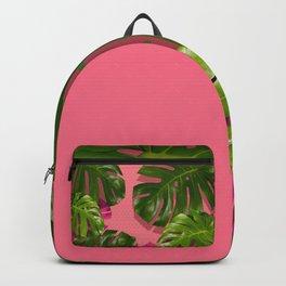 """""""Tropical monstera polka dots pastel pink"""" Backpack"""