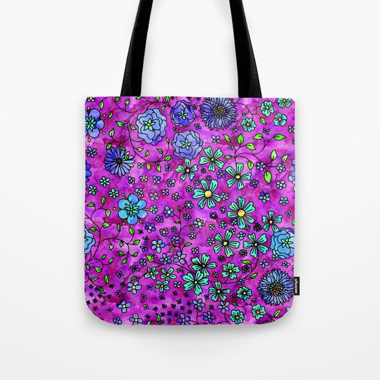 Blue Small Flowers Tote Bag