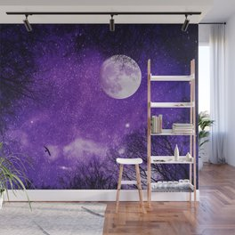 Nightsky with Full Moon in Ultra Violet Wall Mural