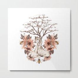 White Giraffes Metal Print
