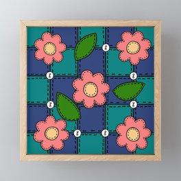 Retro Doodle Flower Style Quilt - Dark Blue and Green Framed Mini Art Print