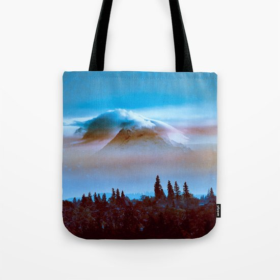 Mountains and Forest - Cloudy Mt Hood Mountain Tote Bag