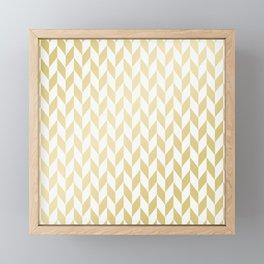 Geometrical elegant abstract gold white pattern Framed Mini Art Print