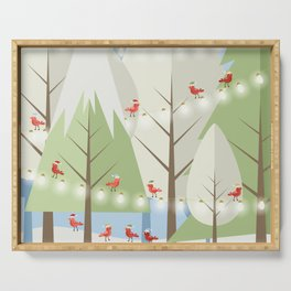 Holiday Winter Scene with Red Bird Santas and Glowing Lights in a Christmas Tree Forest Serving Tray
