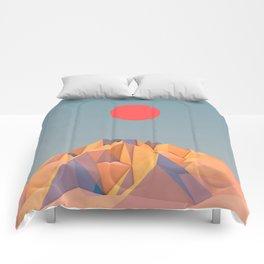 Sun on Mountain Comforters