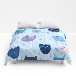 Little blue cats Comforters