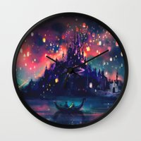 princess peach Wall Clocks featuring The Lights by Alice X. Zhang