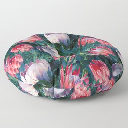 Lush Protea Botanical with Blue Green Leaves Floor Pillow