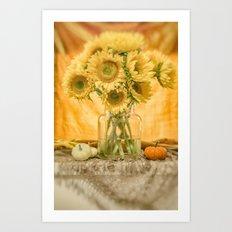 Simple Sunflowers Still Life -- Fall Colors Art Print