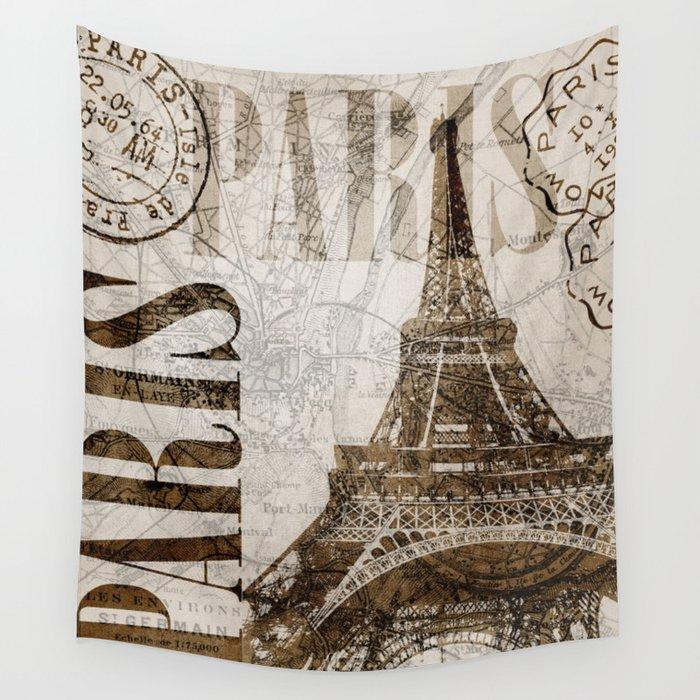Vintage Paris eiffel tower illustration Wall Tapestry
