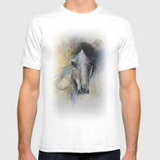Horse Watercolor Painting MEDIUM White Mens Fitted Tee